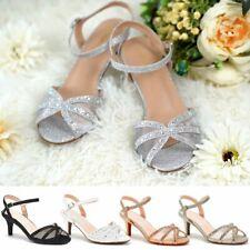 Womens Low Mid Heels Wedding Shoes Glitter Diamante Bridal Sandals Comfortable