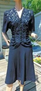 VTG SWING EARLY 40S BLACK RAYON SEQUIN TOP & SKIRT SET 32W PUFF SLEEVES
