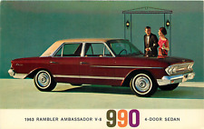 1963 RAMBLER  AMBASSADOR V-8 990 4-DOOR SEDAN AUTOMOBILE ADV. CHROME POSTCARD