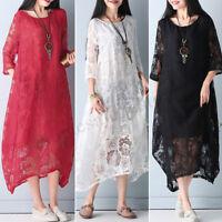 Women Batwing Lace Croceht Shirt Dress Evening Party Asymmetrical Dress Plus