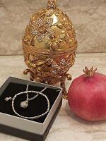 FABERGE egg TRINKET Box POMEGRANATE Jewelry SET HANDMADE 24k GOLD 10ct Diamonds