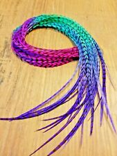 feather hair extensions Pink Purple Blue Green Grizzly tie dye eurohackle beads