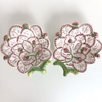 Set of 2 Neuwirth Pottery Portugal Handpainted Strawberry Plate Bowl Dish Pink