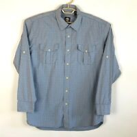 Timberland Mens Button Front Shirt Blue White Plaid Long Sleeve 100% Cotton L