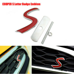 S GRILL BADGE REPLACEMENT EMBLEM METAL WITH FITTING KIT GRILLE FOR MINI COOPER