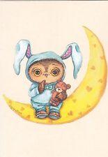 RARE INGA PALTSER sleepy owl on the moon with teddy bear Russian modern postcard
