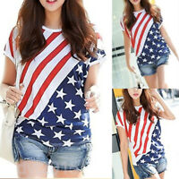 American Flag Patriotic Women T-shirt Short Sleeve Independence Day  4th of July