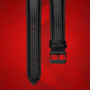 22mm Premium Black Carbon Fiber Leather Watch Strap - Top-Quality Watch Band