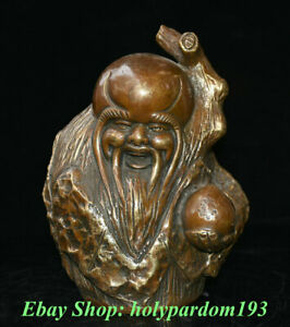 """7"""" Marked Chinese Copper Feng Shui longevity God Hold Peach Statue Sculpture"""