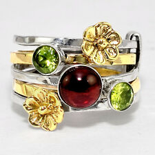 Stackable - Rhodolite Garnet and Peridot 925 Sterling Silver Ring s.6.5 SDR40100