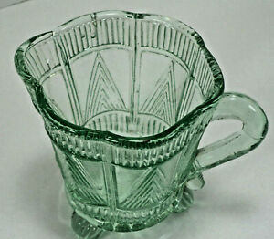 Vintage or Antique Pressed Glass Creamer Tripod Footed Milk Jug Sauce Cup Green