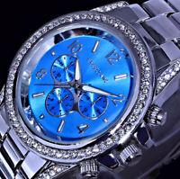 Excellanc Frauen Damen Armband Uhr Hell Blau Silber Farben Metall CHR11