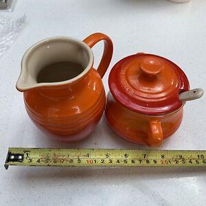 LE CREUSET Stoneware Cream Jug & Sugar Bowl / spoon Set Volcanic Orange