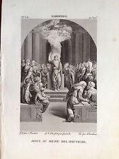 JESÚS' EN MEDIO AI MÉDICOS Grabado original XIX siglo SANTOS RELIGIOSOS