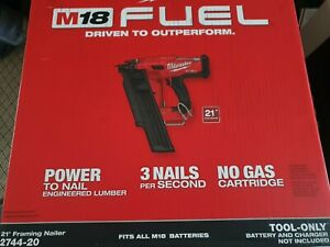 2744-20 Milwaukee M18 FUEL 21 Degree Cordless Framing Nailer (Tool Only) New