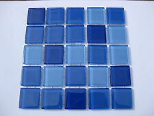 Mixed Blue Glass Tiles 25 x pcs for MOSAIC & Glass Crafts Approx 2.2cm x 2.2cm