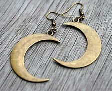 Big Half Moon Tibetan Bronze Earrings Wiccan Pagan