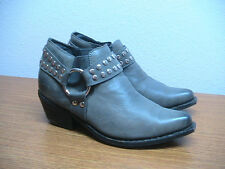 Womens 9 Jeffrey Campbell Grey Silver Studded Harness Booties Boots Shoes