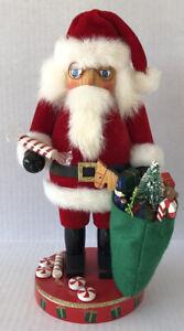 Vintage Nutcracker Santa Velvet Suit Bag Of Toys Handcrafted Nutcracker Village