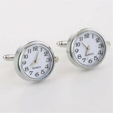 Fashion Gentleman Unique Brass Real Clock With Machine Core Men Silver Cufflinks