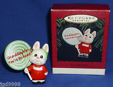 Hallmark Ornament Granddaughter 1995 Bunny Rabbit with Lollipop Used Free Ship