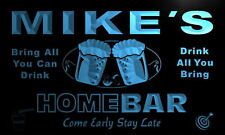 p105-b Mike's Personalized Home Bar Beer Family Name Neon Light Sign