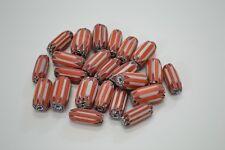 "24 PCS RED AND ORANGE CHEVRON GLASS BEADING BEADS 1"" #T-993"