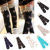 Child Kids Girl Baby Princess Lace Floral Boot Socks Winter Knee High Warm Socks
