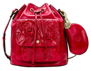 $269 Patricia Nash Sabina Tooled Leather Drawstring Bag with Pouch, Magenta NWT