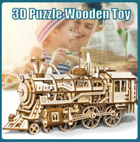 3D Train Assembly Wooden Model Puzzle Toy DIY Steam Locomotive Kit Kids Gift