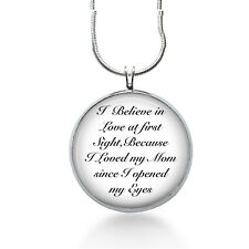 Mom Love Pendant Necklace, Quote, Love at First Sight, Gifts for mothers, mom