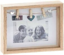 'Our Family' 3D Box Peg Natural Wood Photo Picture Frame