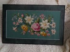 "Needlepoint Original Floral Professionally Framed and matted 28"" x 19"""