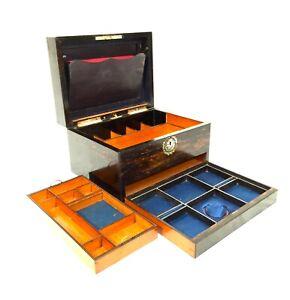 Antique Coromandel Wooden Ladies Jewellery Box / Cabinet / Mother of Pearl Inlay