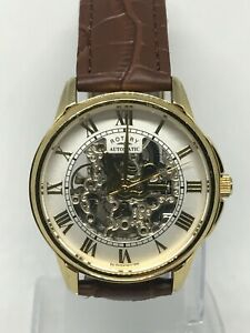 Men's Rotary Brown Leather Strap Automatic Skeleton Dial Watch GS03862/01