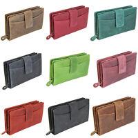 DV Fashions Medium Oil Leather RFID Three Section 14 Card Womens Purse DV 178