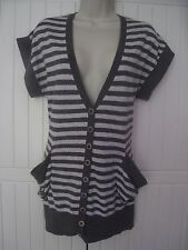 New Look Size 12 EUR 40 Grey Striped Short Sleeved Cardigan Waistcoat Cotton VGC