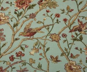 """THIBAUT AVIARY TEAL BLUE D4138 BIRD FLORAL LINEN LUXURY FABRIC BY YARD 54""""W"""