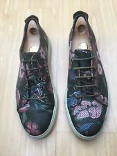 GUCCI MENS SHOES GREEN LEATHER FLORAL TRAINERS SNEAKERS UK 10 44