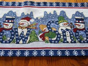 """Snowman Tapestry Runner-Blue-72""""-New"""