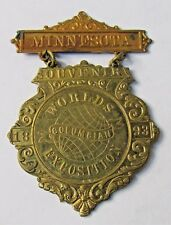 rare 1893 MINNESOTA State COLUMBIAN EXPOSITION badge medal pinback WORLD'S FAIR