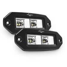 2X 40W FLOOD LED Pod Work Light Flush Mount Offroad for Truck Jeep Square Pickup