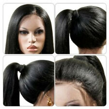 Women's Black Long Ponytails Straight Lace Front Synthetic Hair Wigs
