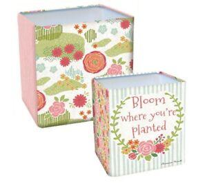 Set of 2 Lang Secret Garden Tin Nesting Pots with plug - Susan Nicoll - NEW