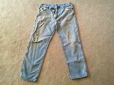 Naturally weathered dirty stained reg fit denim jeans 36X30........Nature Made!