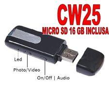 PENDRIVE SPIA NASCOSTA USB SPY MICROCAMERA VIDEOCAMERA + MICRO SD 16GB! CW25