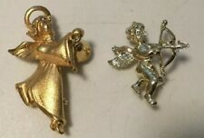 Tone, One Silver Tone, One With Bell Angel Pins, Lot Of Two, One Gold