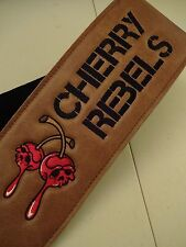 CUSTOM embroidered EXTRA WIDE~ ULTRA SOFT LEATHER guitar strap+your Logo/name