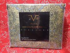 Italia 1969 Versace COTTON SATEEN KING SHEET SET toile pattern GREY GOLD BLACK