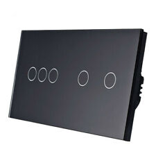 5Gang 1Way Wall Light Touch Screen Switch Crystal Panel EUUK Switch AC110-250V